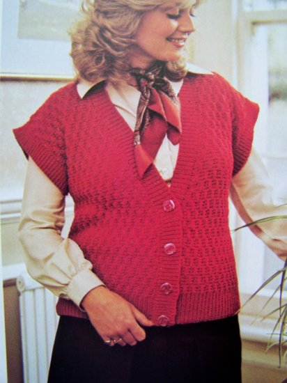 USA 1 Cent S&H Cap Sleeve Sleeveless Vest Plus Size Vintage Knitting Pattern Bust 40 42 44 46 48 50