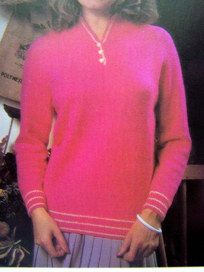 1 Cent USA S&H Raglan Sleeve Sweater Contrast Trim Vintage Knitting Pattern Plus Size Womens