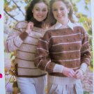 USA 1 Cent S&H 80's Stripes Bobbles Sweaters Turtleneck Boat Neck Vintage Knitting Pattern