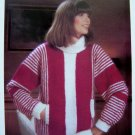 Vertical Striped Turtle Neck Bulky Sweater Slash Pockets Vintage Knitting Pattern Bust 34 36