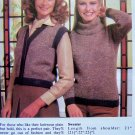 Cowl Neck Sweater & Button Up Vest Vintage Knitting Pattern Womens Bust 32 34 36 38