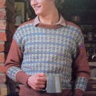 Mens 1980's Crew Neck Fair Isle Sweater Vintage Knitting Pattern Chest 38 40 42