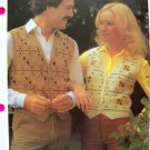 His Her Random Check Vest Sweater Vintage Knitting Pattern Chest or Bust 32 34 36 38 40 42