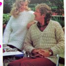US 1 Cent S&H 80's Quick Easy Vintage Knitting Pattern His Her Patterned Sweaters Mens Womens
