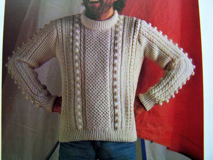 Mens Aran Bobble Sweater Vintage Knitting Pattern CHest 28 30 31 33 35 37 39 41 43 45