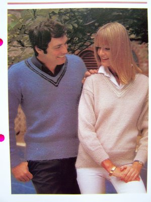 His Hers V Neck Sweaters Vintage Knitting Pattern Men's Women's Chest Bust 32 34 36 38 40 42