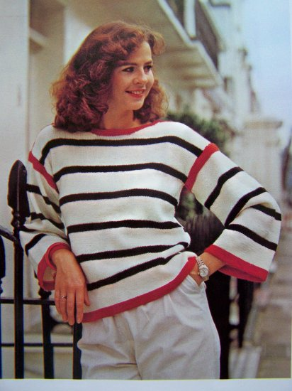 USA 1 Cent S&H Vintage Knitting Pattern Sailor Top Sweater Striped Pullover Shirt Bust 32 34 36 38