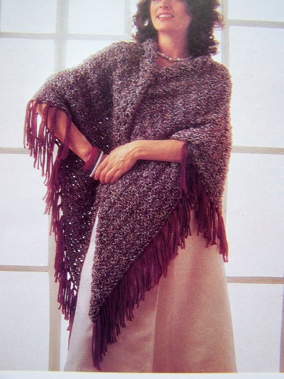 USA 1 Cent Shipping Fringed Shawl Wrap Vintage Knitting Pattern
