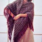 USA 1 Cent Shipping Fringed Shawl Wrap Vintage Knitting Pattern
