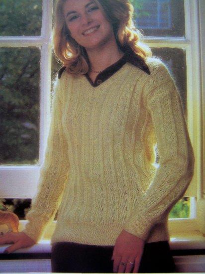 Misses V Neck Wide Rib Sweater Vintage knitting Pattern Bust 30 32 34 36