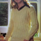 Misses V Neck Wide Rib Sweater Vintage knitting Pattern Bust 30 32 34 36