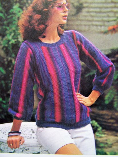 USA 1 Cent S&H Striped T Top Vintage Quick and Easy Knitting Pattern Bust 32 34 36 38