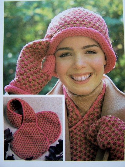 High Style Cap Scarf Mitten Set Tweed Look Vintage Knitting Pattern Crochet Quick & Easy