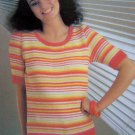 Short Sleeve Striped Cotton Knitted Top Vintage 80's Knitting Pattern Bust 34 36
