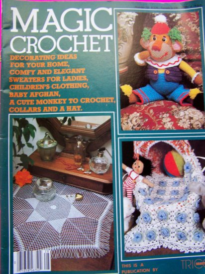 Magic Crochet Magazine 28 Patterns Irish Rose Waterlily Monkey Toddler Dress Baby Afghan Shawl Vest