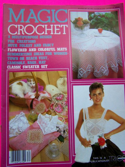 Magic Crochet Magazine Thread 30 Purse Apron Triple Ruffle Infant Dress Coasters Misses Cover Up Top