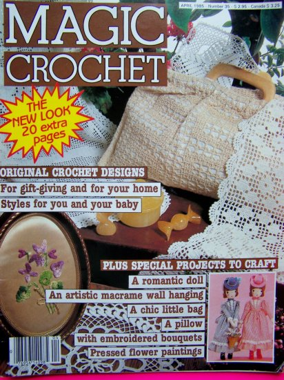 Magic Crochet Magazines # 35 Cafe Curtain Four Leaf Clover Flower Frames Lace & Linen Afghan