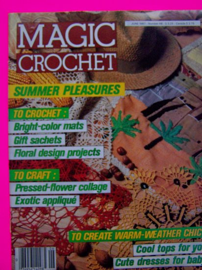 Magic Crochet Magazine # 48 Thread Patterns Bruges Lace Black Eyed Susan Summer Baby Dress Infant