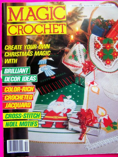 Vintage 80's Magic Crochet Pattern Magazine 56 Vintage Filet Thread Doily Tablecloth Bedspread