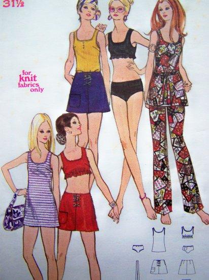 Vintage Sewing Pattern 70's Hippie Micro Mini A Line Skirt Dress Flare Pants Top Bikini Briefs 5823