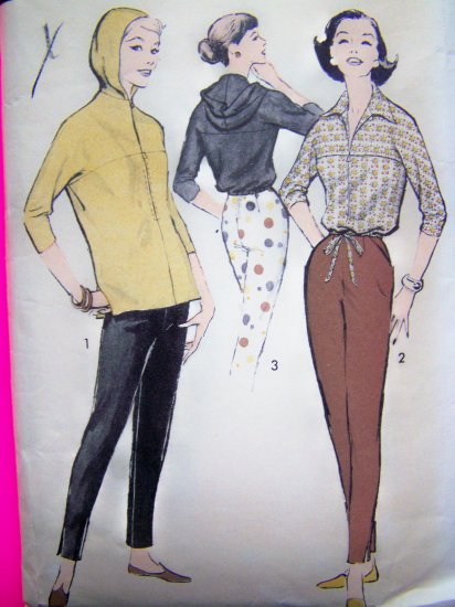 40's 50's Vintage Sewing Pattern Overblouse Tapered Skinny Slit Hem Pants Hoodie 8246