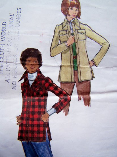 Vintage Sewing Pattern 70's Shirt Jacket Side Slits Patch Pockets Pointy Collar B32.5 Butterick 6774