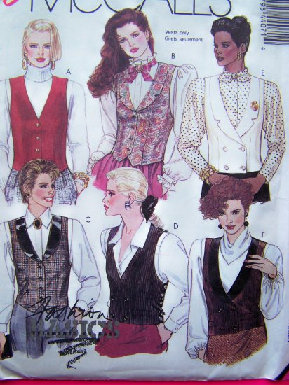 Vintage Sewing Pattern Vests Misses Sz 8 Easy McCall's  4407