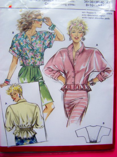 Vintage Sewing Pattern Peplum Shirt Dolman BLouse Sz 8 10 12 14 16 Burda 5669