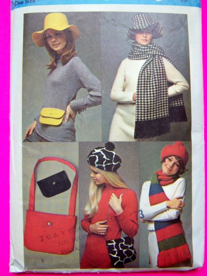 60's Mod Fabric Beret Floppy Hat Scarf Hippie Purse Mini Shoulder Bag Vintage Sewing Pattern 8468