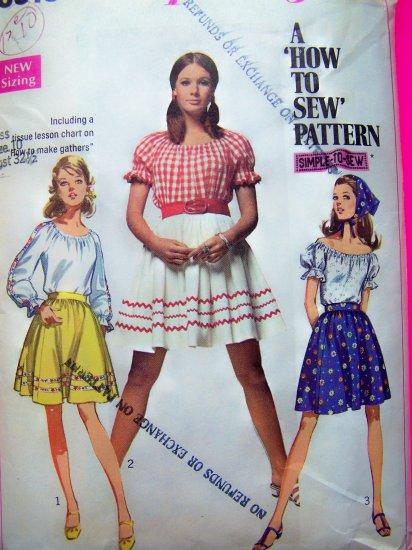 60's Peasant Shirt Puff Short Long Sleeve Blouse Mini Skirt Boho Top Vintage Sewing Pattern 8015