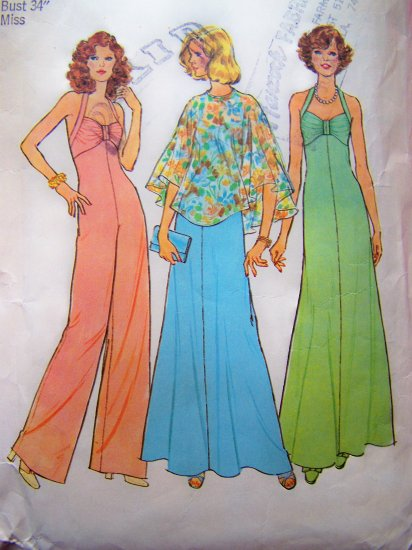 70's Vintage Halter Empire Dress Jumpsuit Palazzo Wide Leg Pants Romper Sewing Pattern 6939