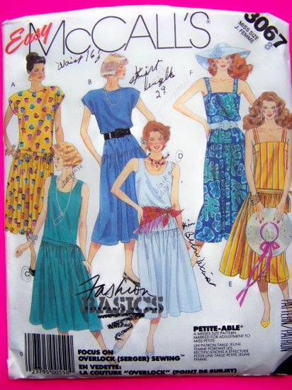 1980s Pullover Sun Dress Dropped Waist Sundress B 31.5 Easy Vintage Sewing Pattern 3067