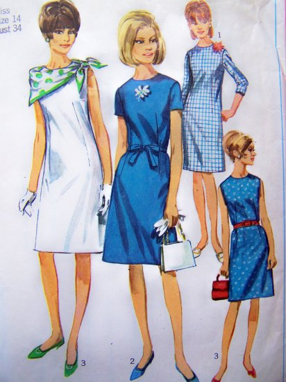 1960's Mod Dress A Line B 34 Sleeveless Short 3/4 Sleeves  Vintage Sewing Pattern 6862
