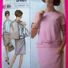 60's Mod A Line Dress Reversible Cap Mandarin Collar Sz 14 Vintage Sewing Pattern 6407
