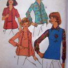 1970's Misses Pullover Twin Set Top and SHirt Sz 12 14 Simplicity Vintage Sewing Pattern 7114