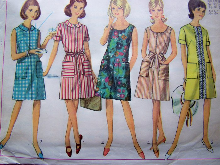 1960's Mod A Line Dress Sleeveless Short Sleeves Sundress B 34 Vintage Sewing Pattern 7025