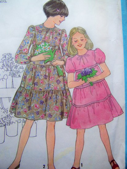 Girls Empire Tiered Ruffled Dress Puff Short or Long Sleeves Sz 7 8 Vintage Sewing Pattern 8432