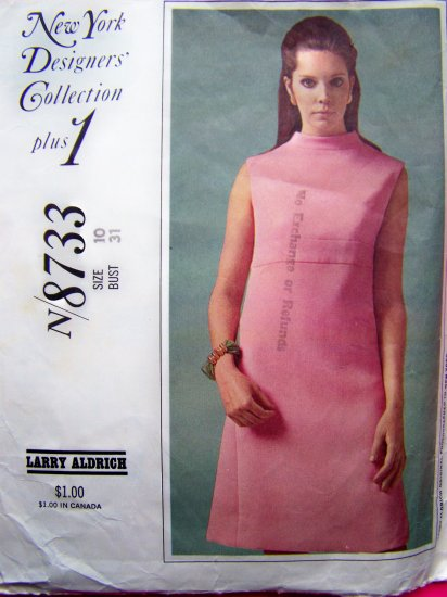 60s Mod Empire Dress High Bias Collar NY Designers Collection Aldrich 10 Vintage Sewing Pattern 8733