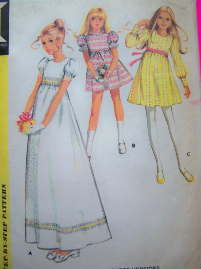 70's Girls Dress Empire Puffy SLeeves FLower Girls Vintage Sewing Pattern M 2781