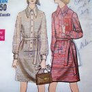 60's 70's Vintage Sewing Pattern Vogue Dress A Line Shirtdress Button Up Band Front Big Collar 7775