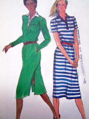 Vintage Sewing Pattern Dress Polo Top Shirtdress Slit Hem Short or Long Sleeves Butterick 3011