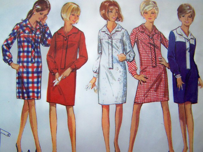 VIntage Sewing Pattern Slim Step In Shirtdress Sz 14 One Piece Dress Butterick 4456