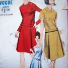 Vintage Vogue Sewing Pattern Dress Semi Fitted A Line Jewel or Scoop Neckline Sz 14 6853