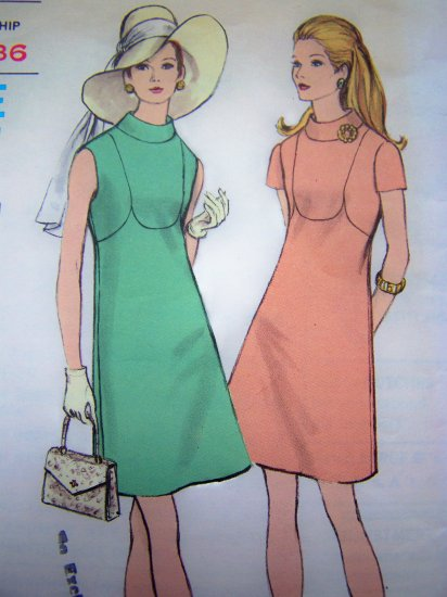 60's Vogue Vintage Sewing Pattern Dress B 34 A Line Standing Collar Short Sleeve or Sleeveless 7741