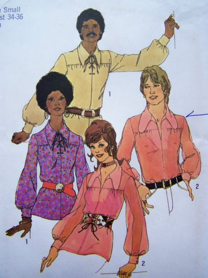 70's Mens Vintage Sewing Pattern Hippie Shirt Disco Top Pointed or Dog Ear Collar Puff Sleeve 9435