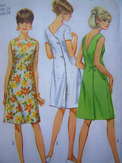 60's Vintage Wrap Dress Hi Round Front Deep V Back Sundress Sz 14 B 34 Vintage Sewing Pattern 7079