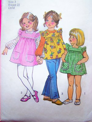 70's Girls Hippie Smock Top Tent Dress Puff Sleeve Blouse Vintage Sewing Pattern 5479