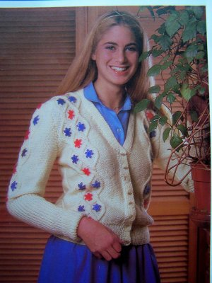 USA 1 Cent S&H Tyrolean Cardigan Sweater Bust 34 36 38 Misses Womens Vintage Knitting Pattern
