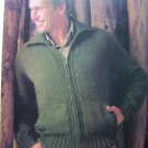 USA 1 Cent S&H Mens Zip Up Cardigan Sweater Jacket Chest 38 40 42 44 46 Vintage Knitting Pattern