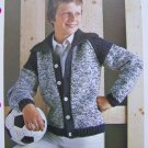 USA 1 Cent S&H Vintage Knitting Pattern Teen Boys Bomber Jacket Cardigan Sweater